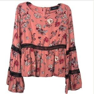 MINKPINK Pink Floral Blouse Long Bell Sleeves LG